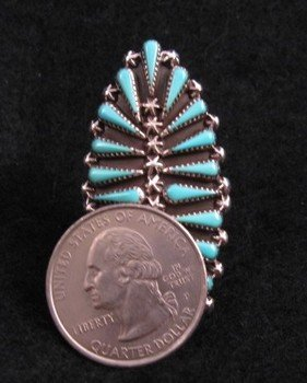 Image 4 of Carlos Tsipa Zuni Pettipoint Turquoise Sterling Silver Ring sz10-1/2