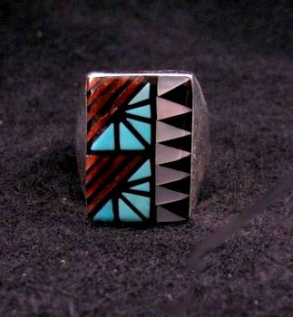Image 3 of Zuni Angelena Laahty Multigem Inlay Silver Ring sz11