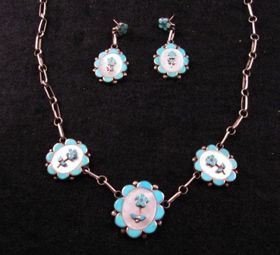 Image 3 of Vintage Dead Pawn Zuni Inlaid Necklace & Earrings Set, Charlotte Bradley