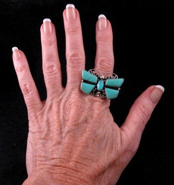 Image 3 of Darrell Cadman ~ Navajo ~ Turquoise Butterfly Dragonfly Ring sz9