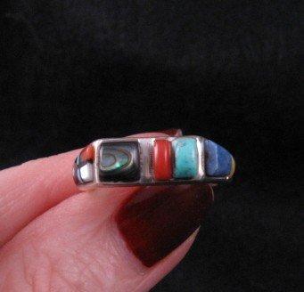 Image 3 of Narrow Native American Inlaid Band Ring Sz8