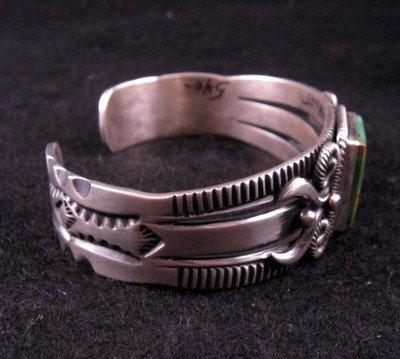 Image 3 of Navajo Pilot Mtn Turquoise Silver Bracelet, Delbert Gordon
