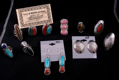 Image 3 of Navajo Rhodochrosite Sterling Ring by Gene & Martha Jackson Sz8
