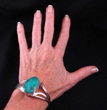 Image 3 of Native American Navajo Kingman Turquoise Silver Bracelet