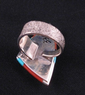 Image 4 of Navajo/Creek David Tune Cobblestone Inlay Ring sz9-sz11 adjustable