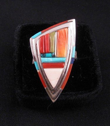 Image 5 of Navajo/Creek David Tune Cobblestone Inlay Ring sz9-sz11 adjustable