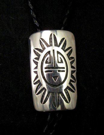 Image 3 of Joe Josytewa (Hopi) Sterling Silver Overlay Sunface Bolo