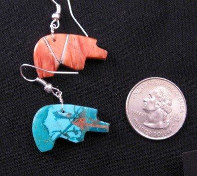 Image 3 of Native American Reversible Bear Fetish Earrings