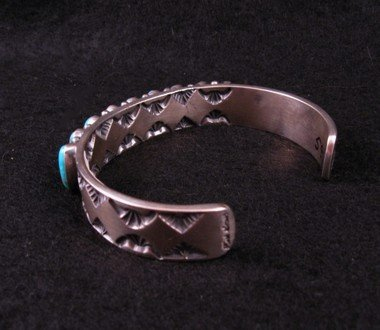 Image 3 of Navajo Kirk Smith Kingman Turquoise Sterling Silver Bracelet - Large