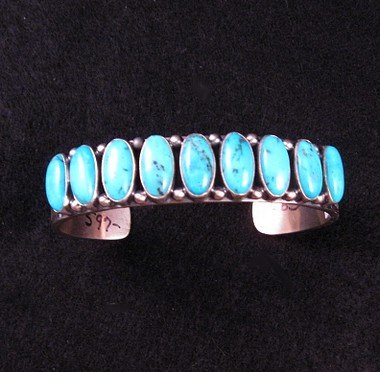 Image 4 of Navajo Kirk Smith Kingman Turquoise Sterling Silver Bracelet - Large