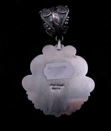 Image 3 of Old Pawn Style Navajo Pilot Mtn Turquoise Sterling Silver Pendant, Kirk Smith