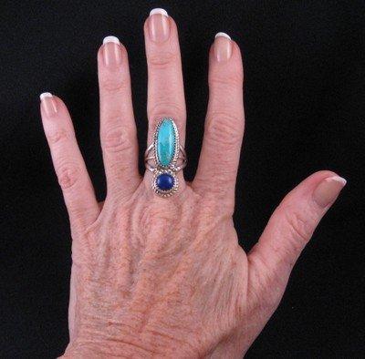 Image 3 of Navajo Gene & Martha Jackson Turquoise Lapis Sterling Ring sz7-1/2