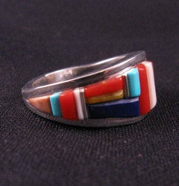 Image 2 of David Tune Navajo Cobblestone Inlay Mens Ring sz12