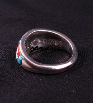 Image 3 of David Tune Navajo Cobblestone Inlay Mens Ring sz12
