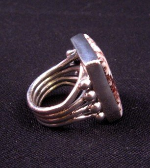 Image 3 of Navajo Orville Tsinnie Wild Horse Silver Ring Sz8-1/2