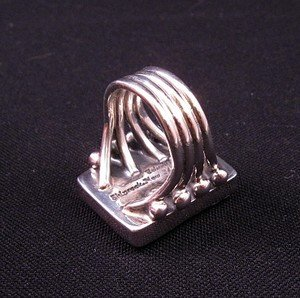Image 4 of Navajo Orville Tsinnie Wild Horse Silver Ring Sz8-1/2