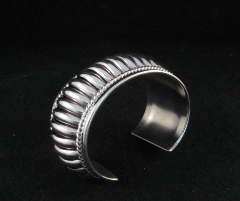 Image 3 of American Indian Navajo Sterling Silver Ribbed Bracelet, Thomas Charley