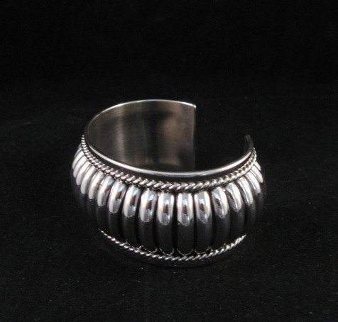 Image 4 of American Indian Navajo Sterling Silver Ribbed Bracelet, Thomas Charley