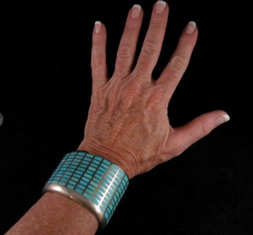 Image 1 of Fabulous Navajo Turquoise Inlay Silver Bracelet, Melvin Francis