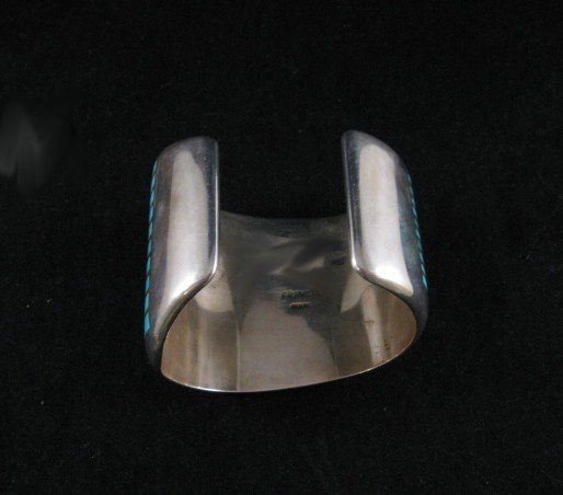 Image 4 of Fabulous Navajo Turquoise Inlay Silver Bracelet, Melvin Francis