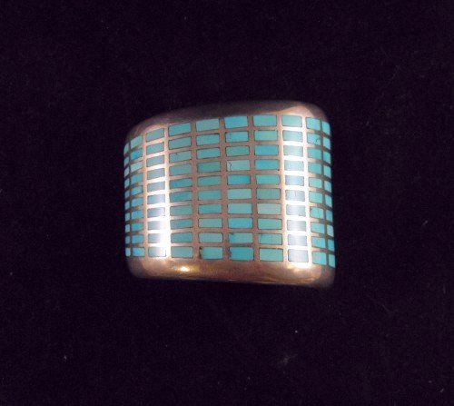 Image 5 of Fabulous Navajo Turquoise Inlay Silver Bracelet, Melvin Francis