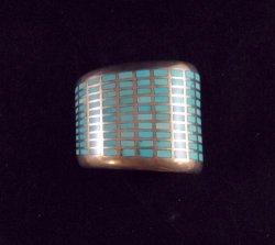 Fabulous Navajo Turquoise Inlay Silver Bracelet, Melvin Francis