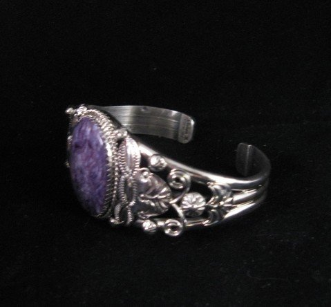 Image 3 of Navajo Native American Purple Charoite Sterling Silver Bracelet