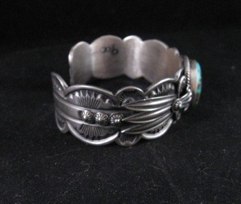 Image 4 of Old Pawn Style Navajo Delbert Gordon Turquoise Sterling Silver Bracelet