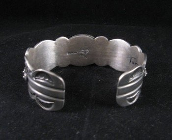 Image 5 of Old Pawn Style Navajo Delbert Gordon Turquoise Sterling Silver Bracelet