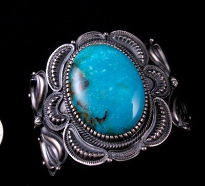 Image 3 of Old Pawn Style Kirk Smith Navajo Turquoise Sterling Silver Bracelet size small