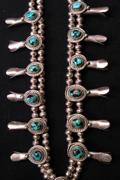 Image 3 of Vintage Navajo Native American Turquoise Silver Squash Blossom Necklace