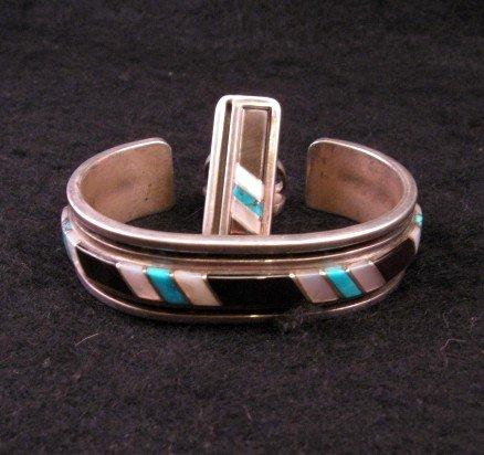 Image 3 of Vintage Zuni Jewelry Inlay Bracelet & Ring, W J Panteah