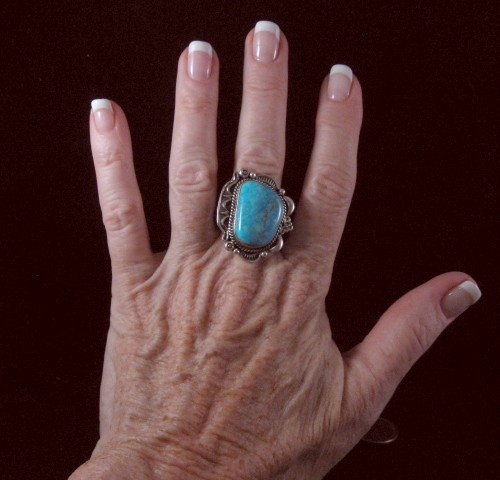 Image 3 of Native American Turquoise Sterling Silver Ring sz9, R Tom
