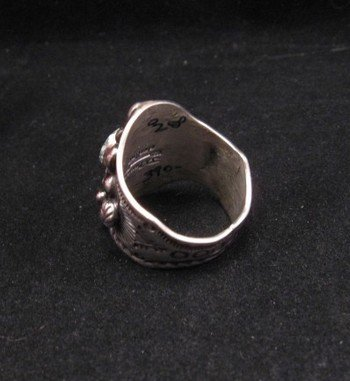 Image 3 of Native American Darryl Becenti Number 8 Turquoise Silver Ring sz10-1/2