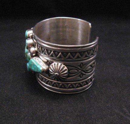Image 3 of Royston Turquoise Cluster Silver Bracelet ~ Albert Jake ~ Navajo