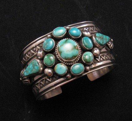 Image 5 of Royston Turquoise Cluster Silver Bracelet ~ Albert Jake ~ Navajo