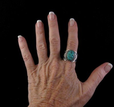 Image 3 of Navajo ~ Robert Shakey ~ Pawn Style Turquoise Silver Ring Sz11-1/4