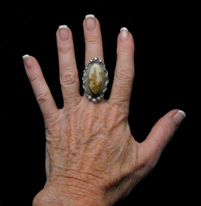 Image 4 of Navajo Native American Ribbon Turquoise Silver Ring Sz8-1/4, Robert Shakey