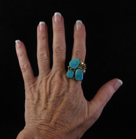 Image 3 of Old Navajo 14K Gold Turquoise Ring Sz11, Martin Muskett