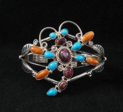 Image 4 of Native American Dragonfly Multigem Silver Bracelet