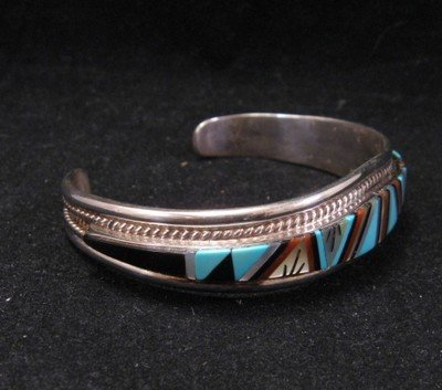 Image 3 of R.L. Yuselew Zuni Inlaid Bracelet Jewelry Native American