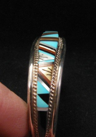 Image 4 of R.L. Yuselew Zuni Inlaid Bracelet Jewelry Native American