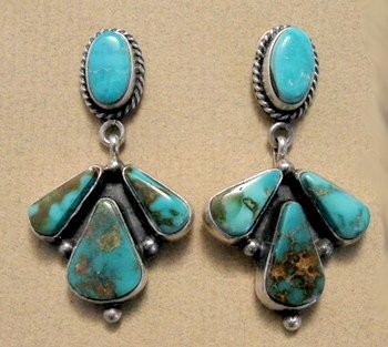 Image 3 of La Rose Ganadonegro Royston Turquoise Sterling Necklace Set - Native American