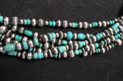 Image 4 of La Rose Ganadonegro Royston Turquoise Sterling Necklace Set - Native American