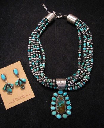 Image 5 of La Rose Ganadonegro Royston Turquoise Sterling Necklace Set - Native American