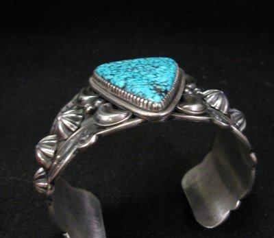 Image 3 of Delbert Gordon Navajo Kingman Turquoise Sterling Silver Bracelet