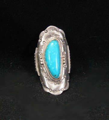 Image 3 of Native American Navajo Indian Turquoise Silver Ring sz6