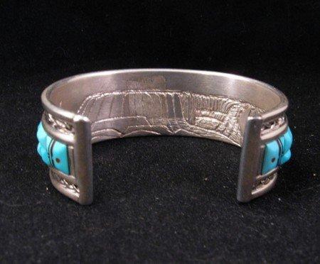 Image 3 of Lloyd Tsalabutie Zuni Raised Cobblestone Inlay Sunface Bracelet