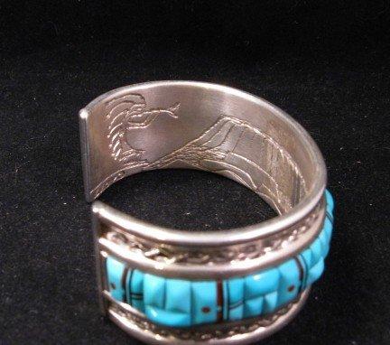Image 5 of Lloyd Tsalabutie Zuni Raised Cobblestone Inlay Sunface Bracelet