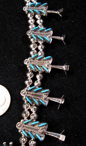 Image 3 of Zuni Turquoise Needlepoint Silver Squash Blossom Necklace Earring Set, Eva Wyaco